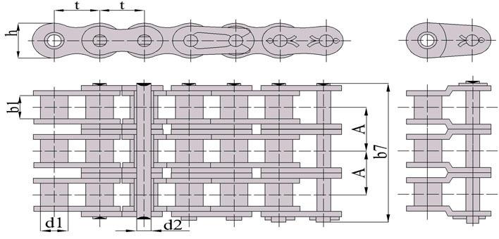 Схема: Цепь приводная роликовая трехрядная