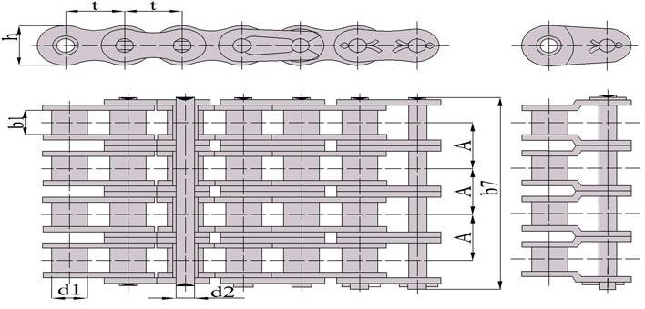 Схема: Цепь приводная роликовая четырехрядная